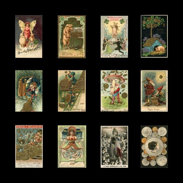 Geld-Symbole auf Postkarten um 1900 © Milaneum 2017