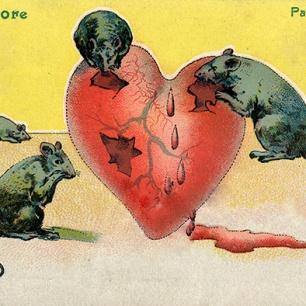 Armes Herz um 1900, Neujahrskarte um 1900, 25 x 40 cm