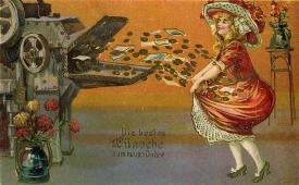 Postkarte um 1900, Neujahrskarte, geprägte Lithographie © Milaneum 2018